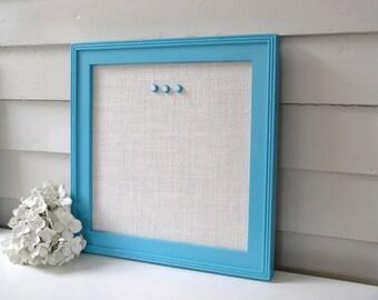 Burlap Magnet Board - Framed Magnetic Bulletin Board Handmade Wood Frame 14.5 x 14.5 Turquoise Aqua Blue Ivory White Burlap Button Magnets
