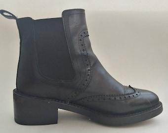 Vintage Black Leather Ankle Boots