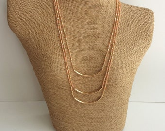 Layering necklace, gold bar necklace, tribal necklace,peach and gold necklace,minimalist necklace, bar necklace, beaded necklace, noodle