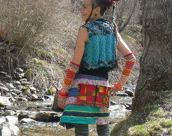 tribal boho chic colorful patchwork skirt