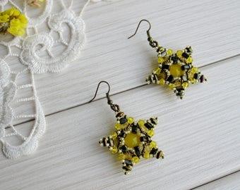 Bright yellow bronze star earrings, beaded seed bead jewelry, beadwork crystal exclusive handmade hook earrings, chic style trendy, OOAK