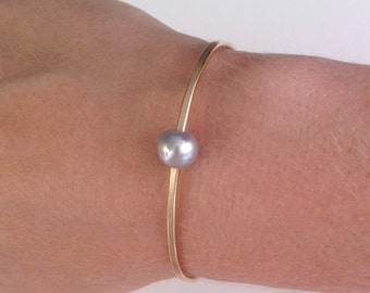 Gray Pearl Bangle Bracelet