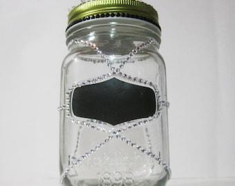 The Diva Mason Jar | Jeweled Mason Jar