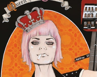 Giclee print by Andy McCready - 'Queen of the Crown' - Limited edition, large, punk, Dunedin, beer, lowbrow. Prints by giltandenvy on Etsy.
