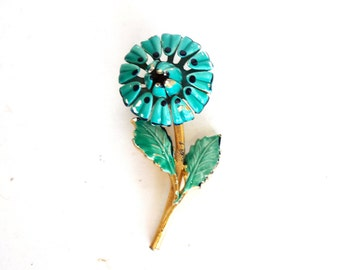 Vintage 1960s Green and Turquoise Blue Enamel Flower Pin /Brooch