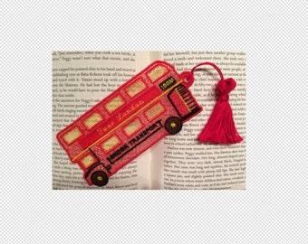FSL Lesezeichen London Double Decker Bus - Buch-Liebhaber-Geschenk - FSL - Stickmuster - Multiple Formate