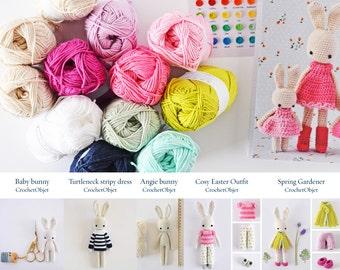 Angie bunny complete kit - 5 bunny crochet patterns + 12 cotton balls + a bunny notebook