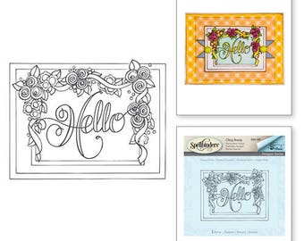 Spellbinders   Framed Hello Stamps from the Happy Grams #2 Collection by Tammy Tutterow SBS-083