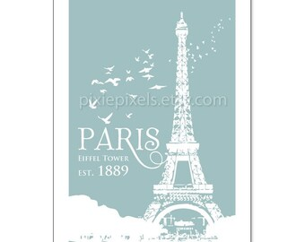 Paris Eiffel Tower -Travel Posters-  Size 13x19 (Color OXFORD BLUE) 25 colors to choose from