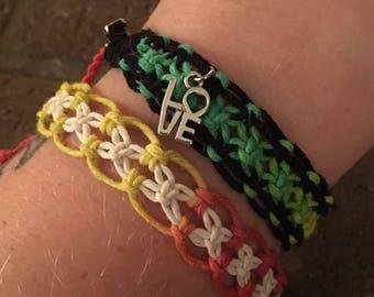 Rasta ombre hemp macrame roach clip bracelet