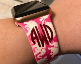 Apple Watch Band-Apple Watch Strap-38mm-42mm-Lilly Pulitzer-Lily Inspired-Monogrammed-Elephant