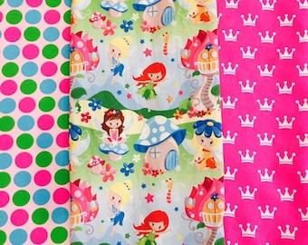 Fat Half CL knit bundle rainbow dots, pink princess crowns and spring fairies Euro and US knits