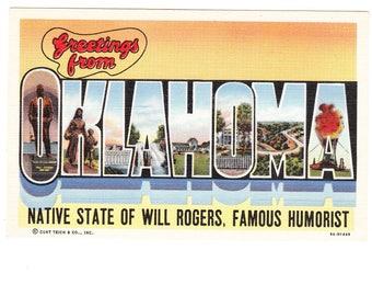 Greetings from Oklahoma Large Letter Vintage Postcard (unused)