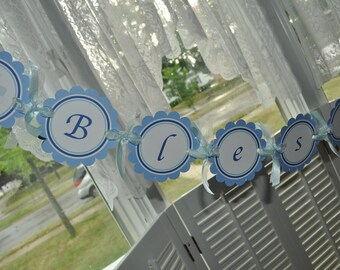 Boys Baptism Banner, First Holy Communion Banner, Personalized Name Banner, God Bless Baby, Baptism