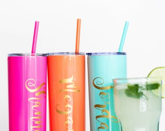 Personalized Stainless Steel Skinny Tumbler 20 oz. with Lid & straw Cup Monogrammed Wedding Tumbler Personalized Gift Wedding Favor