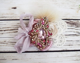 Handcrafted Pink Austrian Crystal Hair Clip - Feather Fascinator - Champagne and Dusty Rose Hair Accessory - Wedding Clip - Alligator Clip