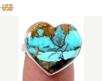 MOTHERS DAY SALE Beautiful Handmade Genuine Ithaca Peak Turquoise/Sterling Silver Heart Ring Size 6