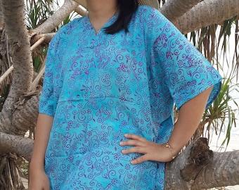 Plus Size, Blue, Batik Dress, Tunic Dress, Caftan Dress, Kaftan Dress, Pregnant Dress, Maternity Dress, Beach Coverup, Womens Dresses