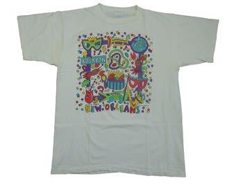 1990s 93 New Orleans Mardi Gras French Quarter New Orleans Bourbon Street Vintage Tee T Shirt - XL