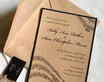 Music Wedding Invitation, Music Notes, Rustic Wedding Invitation, Vintage Wedding