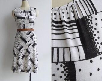 Vintage 80's 'Dominoes' Op Art Black & White A-Line Dress XS or S
