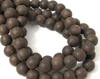Unfinished Ebony Wood Bead, 10mm, Dark Brown, Round, Small, Natural Wood Bead, 16 Inch Strand - ID 2357