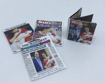 """Dolls House Miniatures -   3 x Royal newspaper covers & 1 magazine  - Royal Baby """"Prince Louis"""" 1/12th"""