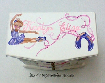 Large white jewelry box,musical box,personalized gift,purple,pink,African American,girls jewelry box,musical jewelry box,dancers, ballerina