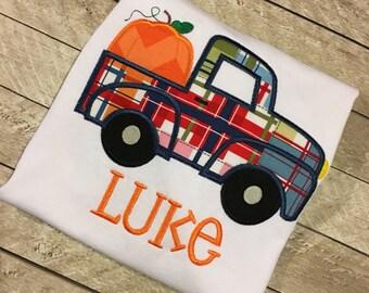 Pumpkin and Truck Applique shirt - Boys Thanksgiving shirt - Boys Halloween Shirt -Truck applique shirt