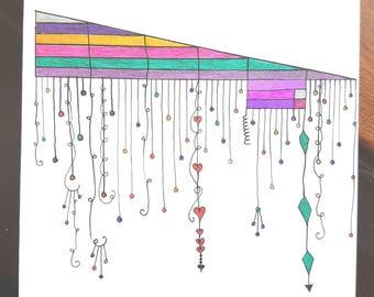 Glitter dangles on a geometric slope, Greeting Card