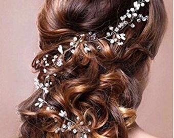 KATHLEEN - Silver Pearl Hair Vine