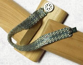 Silver Blue Bracelet Peyote Bead Bracelet Blue Beaded Bracelet Bead Woven Bracelet Size 6 1/2 Bracelet Silver Bead Bracelet