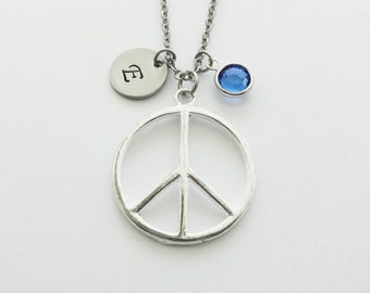 Peace Necklace, Peace Symbol, Hippie Necklace, Peace Sign, Swarovski Birthstone, Silver Initial, Personalized Monogram, Hand Stamped Letter
