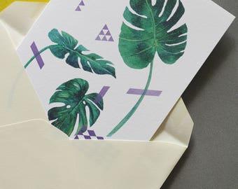 Specimen split palm leaf greeting card