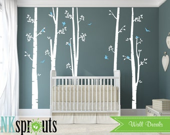 Set of 5 White Birch Tree Decal with Birds, Large Birch set, birch tree set, Birch forest, Nursery decals, Baby Decals