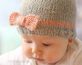 Knit Bow Baby Hat KNITTING PATTERN / Newborn baby bow hat / Beanie with bow / Baby Hat Pattern Knit / Easy Beanie Pattern / Hospital Hat