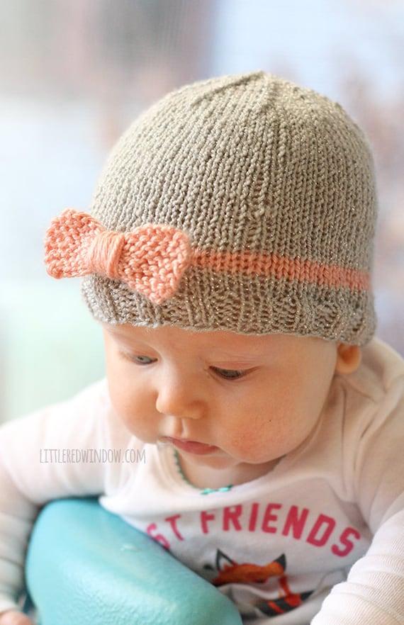 Knit Bow Baby Hat Knitting Pattern Newborn Baby Bow Hat Beanie