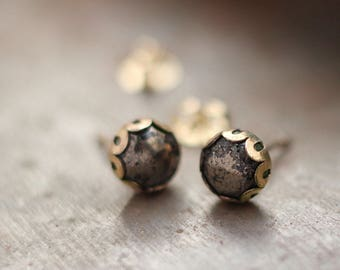 Pyrite and Gold Stud Earrings- Free Shipping, gold studs, black studs, pyrite studs, gold post earrings