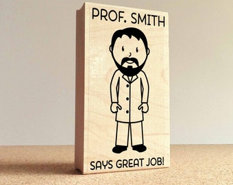 Personalized Male Teacher, Professor or Doctor Rubber Stamp- Choose Text, Hairstyle and Clothing