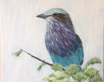 "Lilac-breasted Roller - Original Acrylic Painting 12""x12"""