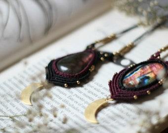 Purple blue Labradorite macrame pendant with brass moon, crescent moon necklace, moon phase necklace, boho celestial lunar jewelry