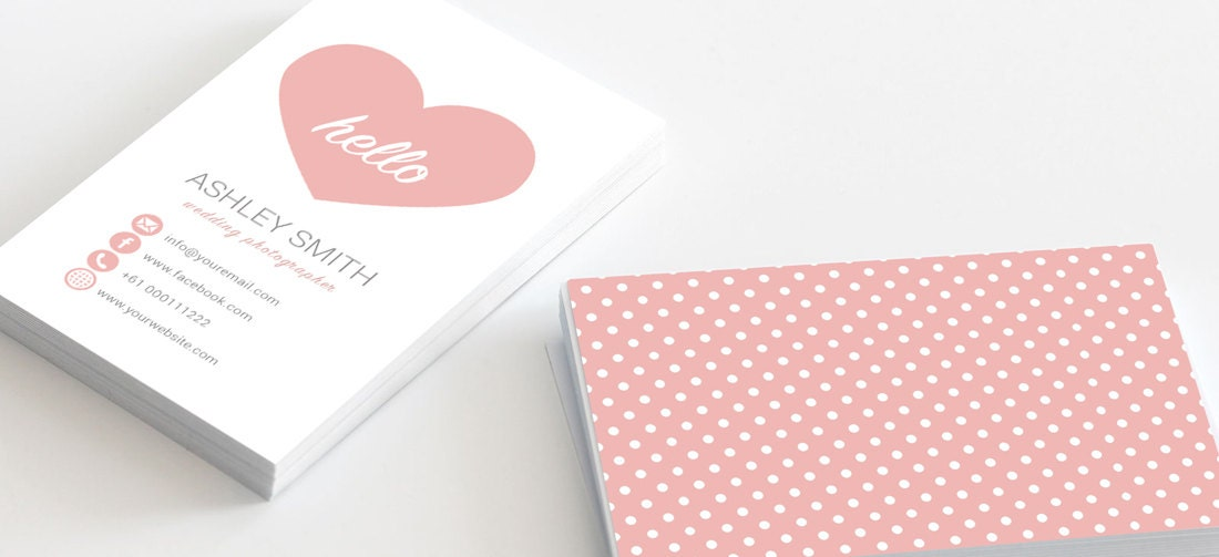 Cute Business Card Heart Love Polka Dots Template for