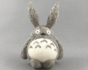 "Needle Felted Totoro 3"" high x 2"" wide, 100% handmade needle felted character."