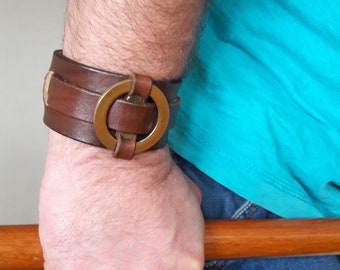 Genuine leather wristband  Brown leather wide bracelet with circle Brown leather bracelet Brown genuine leather cuff men Gift box included