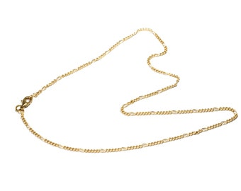"""Brass Figaro 18"""" Chain Brass Necklace  Thin Brass Chain  Free UK Delivery"""