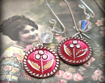 1800s BUTTON earrings, Victorian red flowers on sterling. Antique button jewellery.