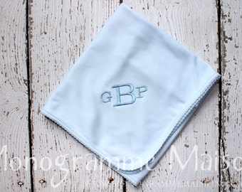 Monogrammed Baby Blanket- New Baby Gift -Baby Shower Gift -Coming Home Layette-Monogrammed Layette Gift Set- Pima Cotton