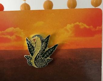 Vintage Deadstock Enamel Weed Cobra Pin