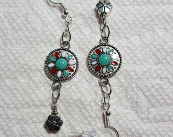Silvertone Dangle Earrings with Turquoise