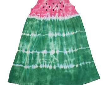 Watermelon Dress in Pink and Green Tie Dye-Girls Watermelon Dress